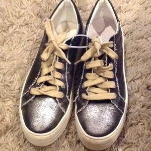 J/SLIDES metallic canvas platform sneaker